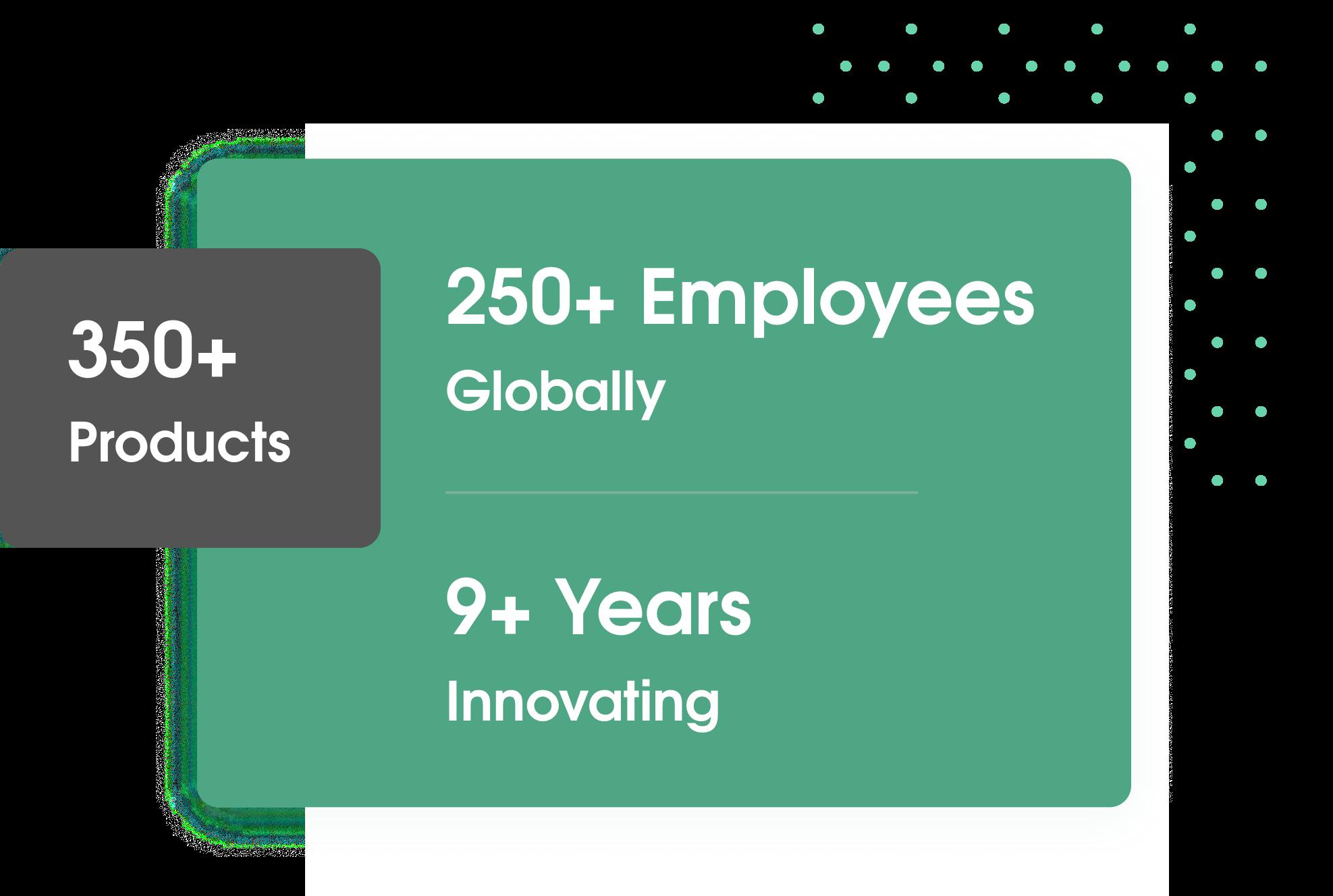 250 Employess   350+ Products   9+ Years Around